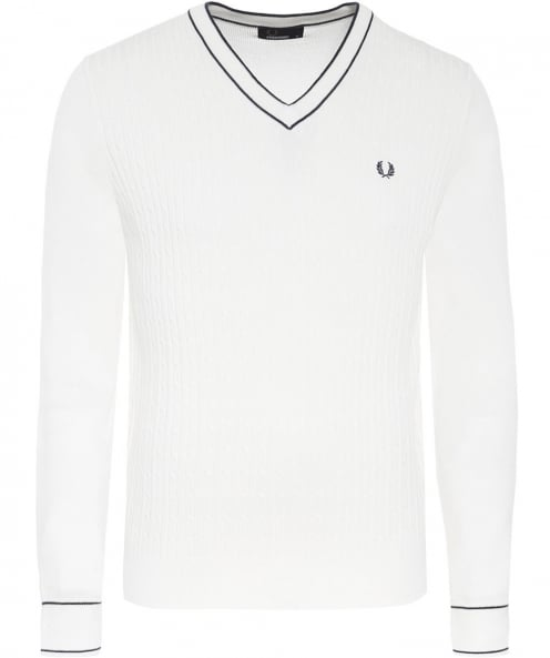 Fred Perry Cotton Cable Knit V-Neck Jumper
