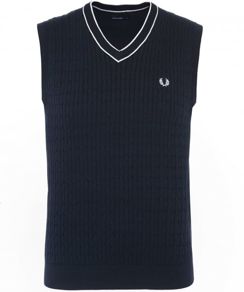 Fred Perry Cotton Cable Knit V-Neck Tank Top