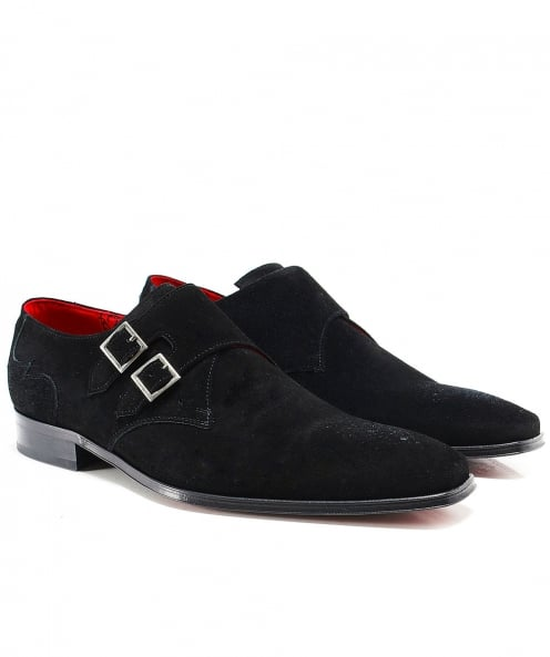 Jeffery-West Suede Scarface Double Monk Strap Shoes