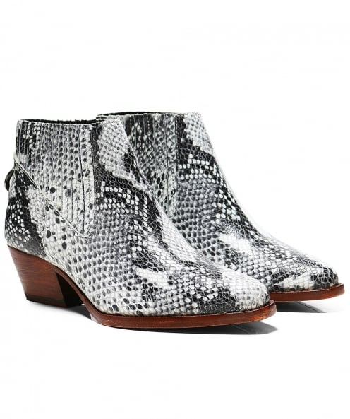 H by Hudson Leather Snake Print Ernest Boots