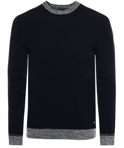 BOSS Textured Cotton Crew Neck Kilian Jumper