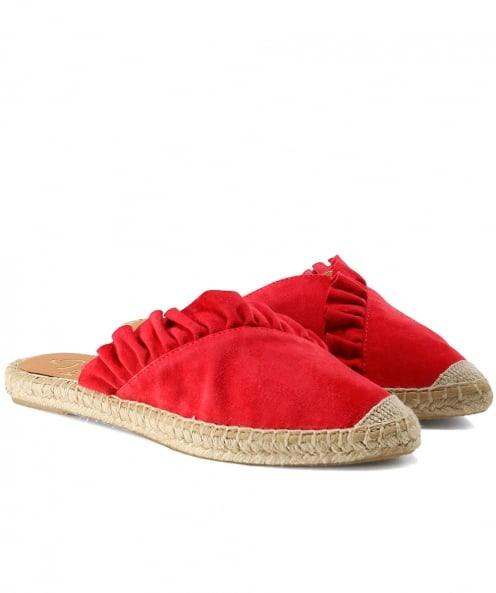 Kanna Dyna Leather Ruffle Espadrilles