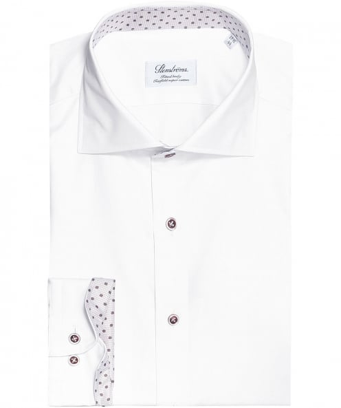 Stenstroms Fitted Body Floral Trim Shirt
