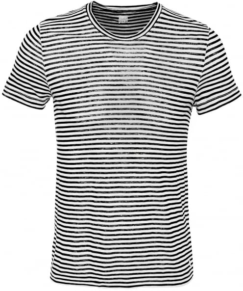 120% Lino Linen Crew Neck Striped T-Shirt