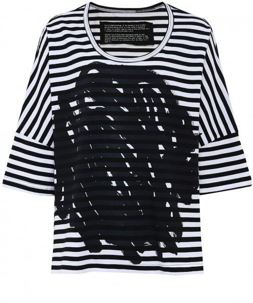Rundholz Striped Scribble Print T-shirt