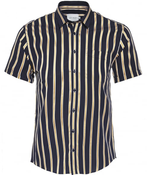 Les Deux Regular Fit Short Sleeve Striped Verrier Shirt