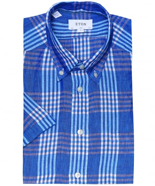 Eton Slim Fit Linen Short Sleeve Check Shirt