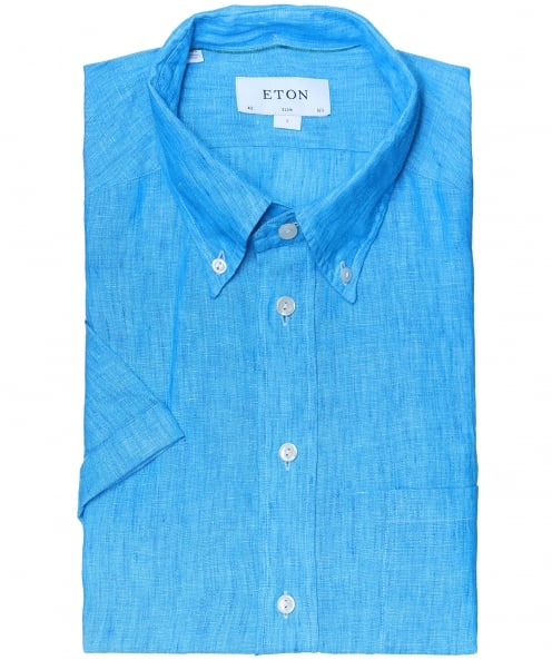 Eton Slim Fit Short Sleeve Linen Shirt