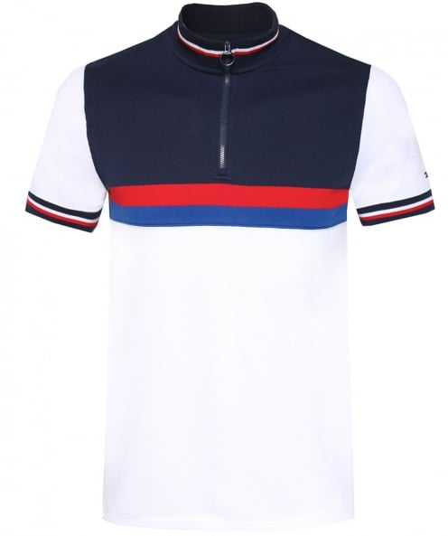 Tommy Hilfiger Slim Fit Zip Colour Block Polo Shirt