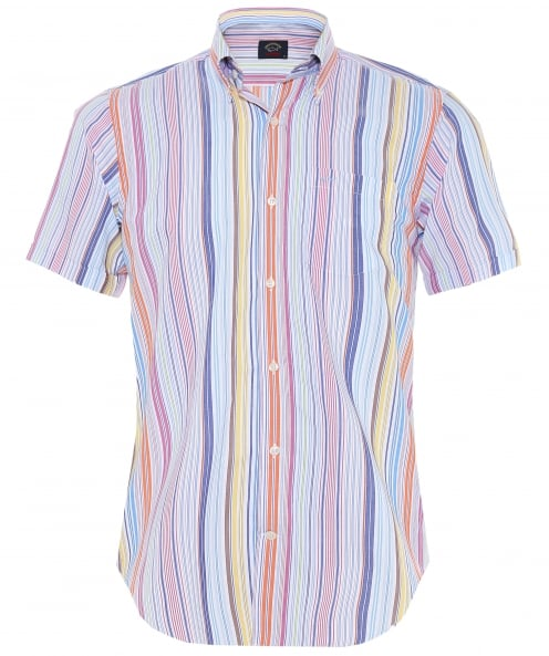 Paul and Shark Poplin Cotton Striped Short Sleeve Shirt