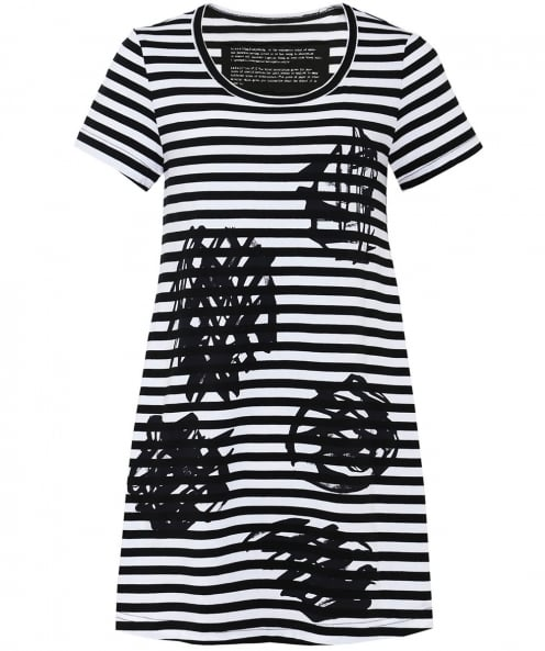 Rundholz Striped Multiple Scribble Print T-Shirt