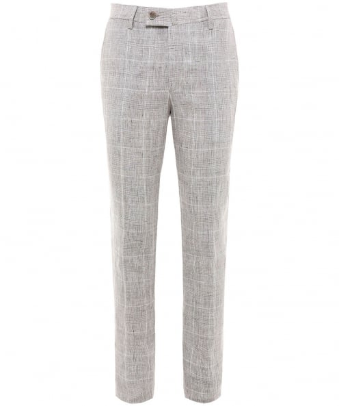 Hackett Slim Fit Linen Check Trousers