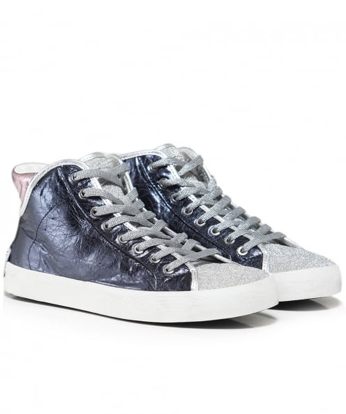 Crime London Faith Metallic High Top Trainers