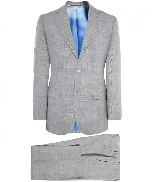 Jules B Slim Fit Linen Prince of Wales Check Suit