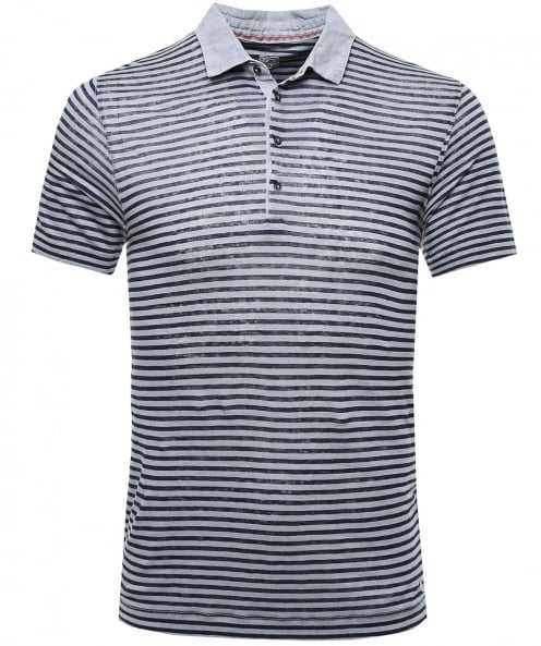 120% Lino Linen Striped Polo Shirt