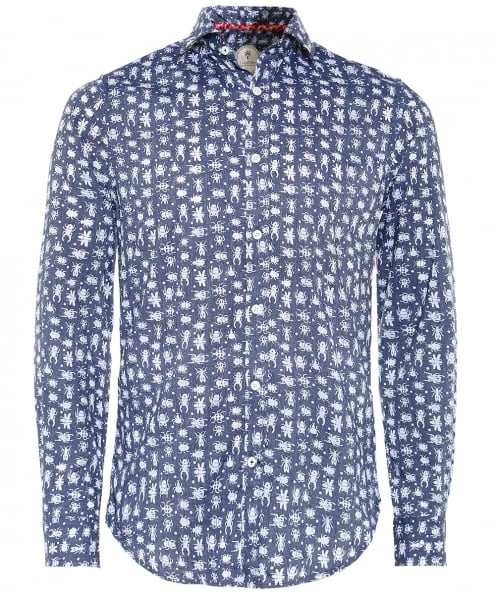 Ganesh Slim Fit Insect Print Shirt