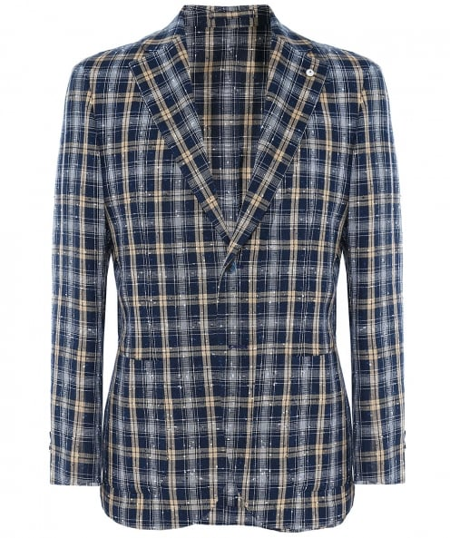 LBM 1911 Linen Blend Textured Check Jacket