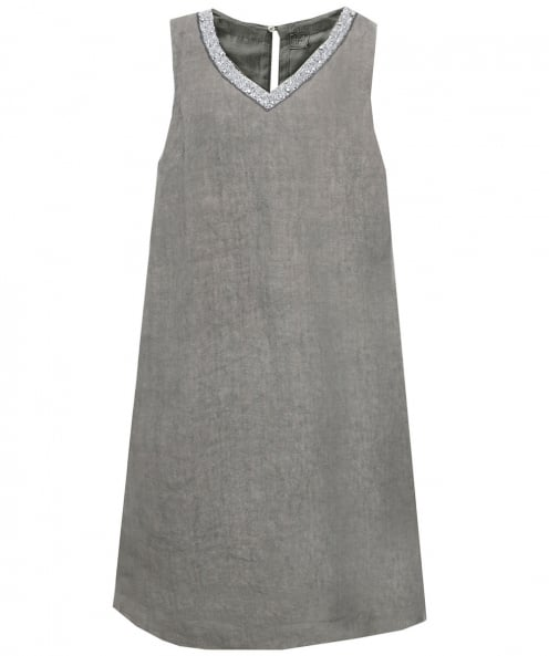 120% Lino Beaded V-Neck Tunic Dress