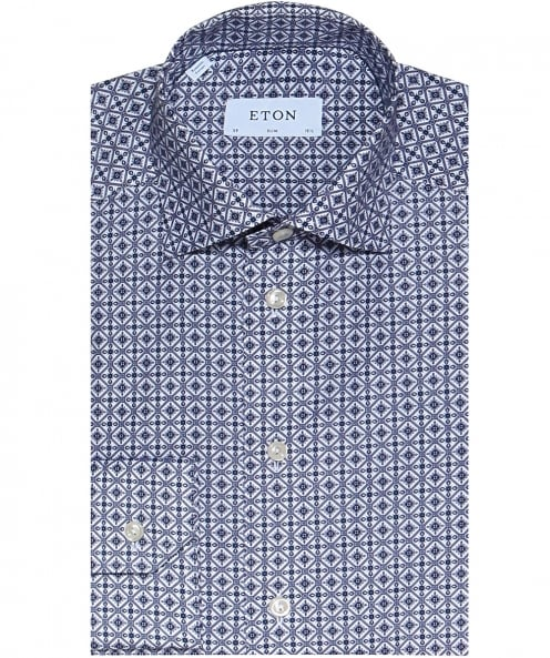 Eton Slim Fit Azulejo Print Shirt