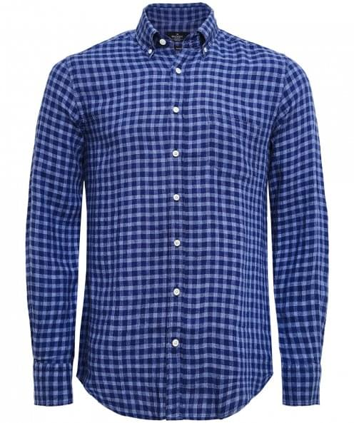 Hackett Slim Fit Linen Gingham Shirt