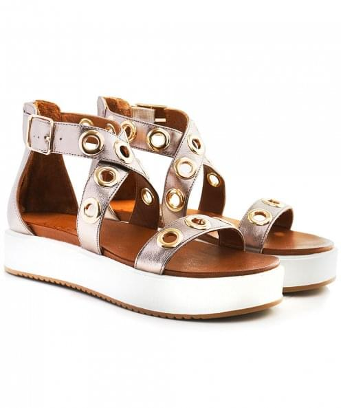 Inuovo Eyelet Cross Ankle Wedged Sandals