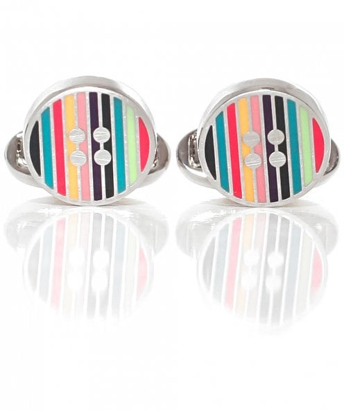 PS by Paul Smith Striped Button Cufflinks