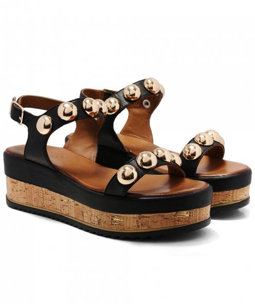 Inuovo Studded Slingback Wedge Sandals