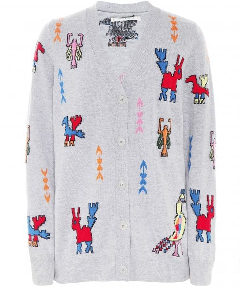 Chinti and Parker Cashmere Aztec Tattoo Cardigan