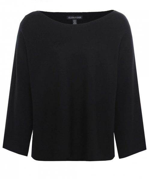 Eileen Fisher Merino Wool Cold Shoulder Jumper