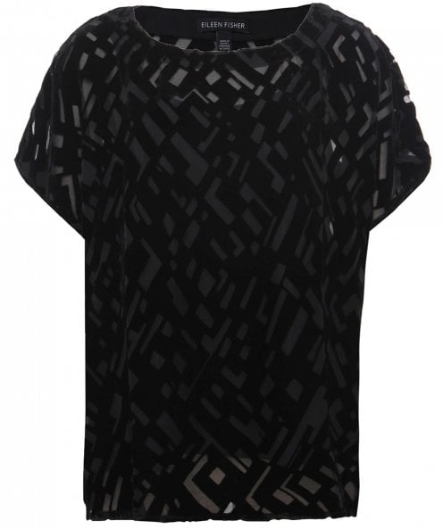 Eileen Fisher Geometric Devoré Top
