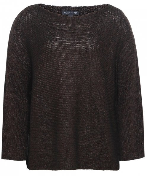 Eileen Fisher Knitted Linen Cold Shoulder Jumper