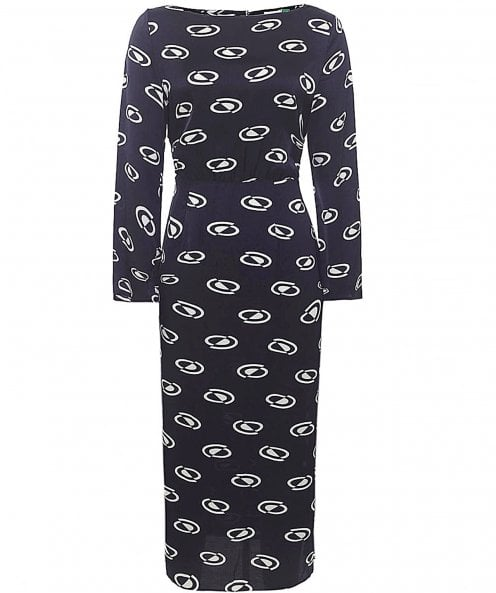 RIXO Sheena Long Sleeved Midi Dress