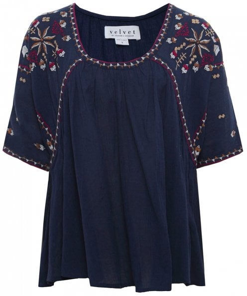 Velvet by Graham and Spencer Adele Embroidered Cheese Cloth Top