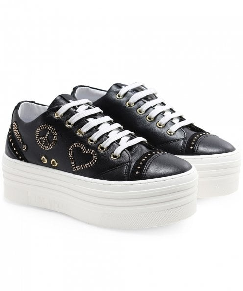 Moschino Love Moschino Leather Peace Platform Trainers