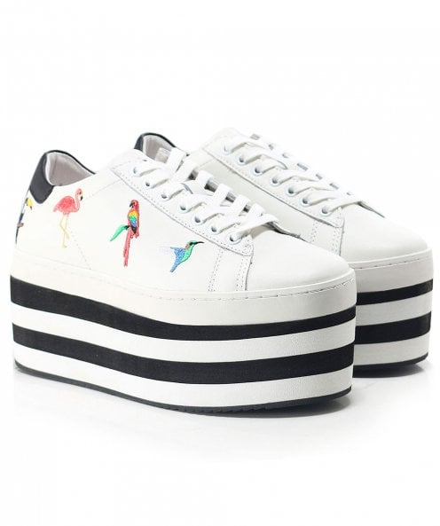 MOA Master of Arts Striped Platform Tropical Embroidered Trainers