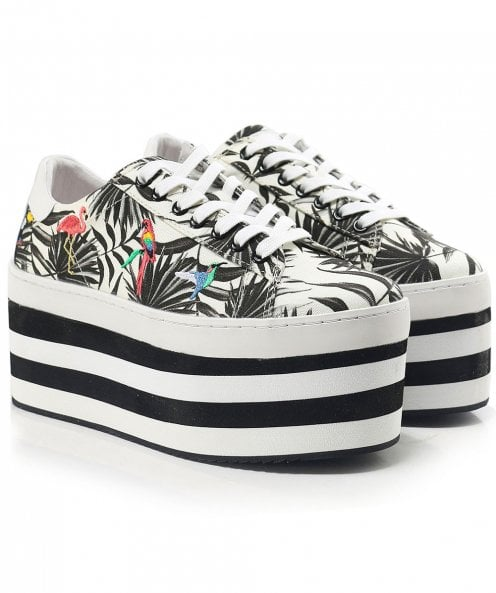 MOA Master of Arts Platform Canvas Leaf Print Trainers