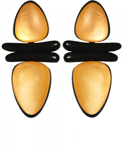 Monies Ebony Gold Leaf Clip On Earrings