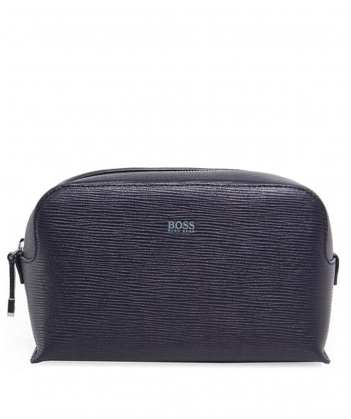 BOSS Textured Leather Timeless Wash Bag