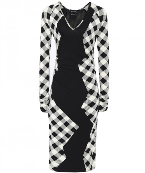 Isabel de Pedro V-Neck Geometric Check Print Dress