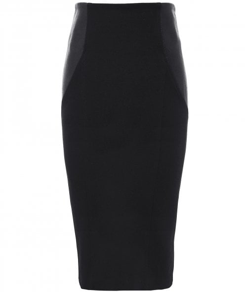 Isabel de Pedro Leather Insert Pencil Skirt