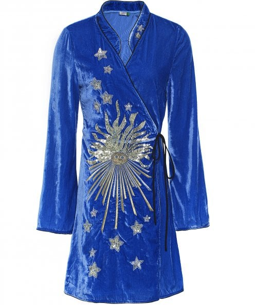 RIXO Velvet Iris Sunburst Tunic Dress