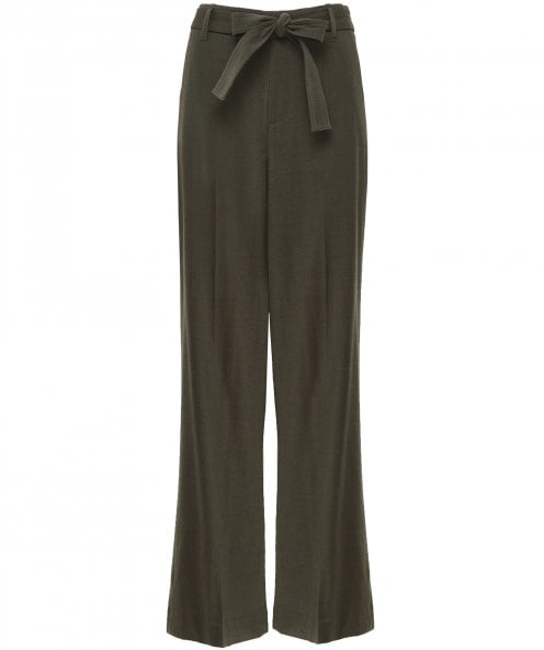 Vince Wool Belted Wide Leg Trousers
