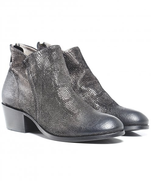 H by Hudson Apisi Metallic Pewter Ankle Boots
