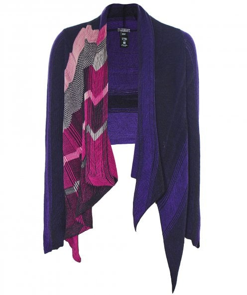 Crea Concept Draped Chevron Cardigan