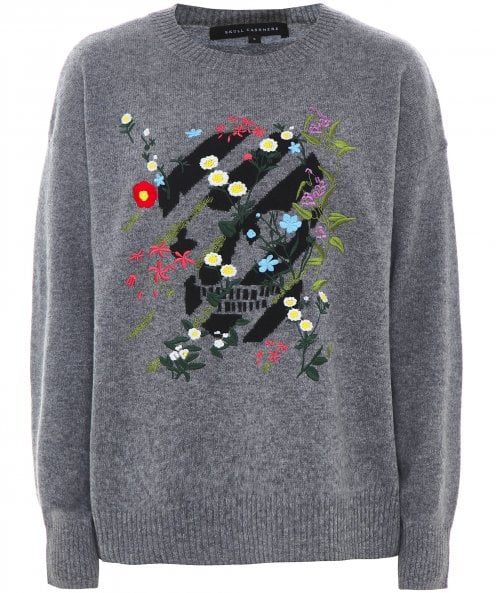 360 Sweater Cashmere Embroidered Skull Jumper