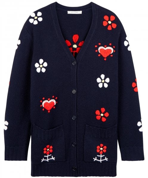 Chinti and Parker Lambswool Embroidered Milagro Cardigan
