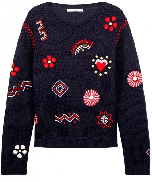 Chinti and Parker Lambswool Milagro Embroidered Jumper
