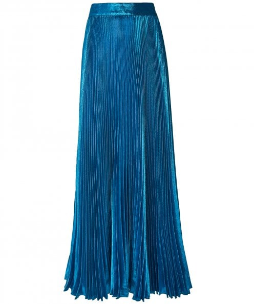 Alice and Olivia Katz Wet Look Pleated Maxi Skirt