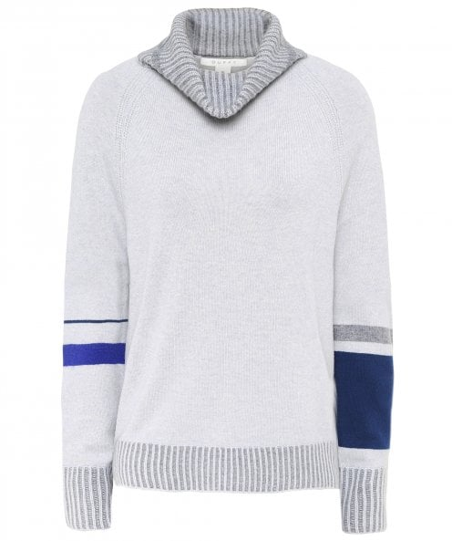 Duffy Cashmere Striped Cuff Roll Neck Jumper