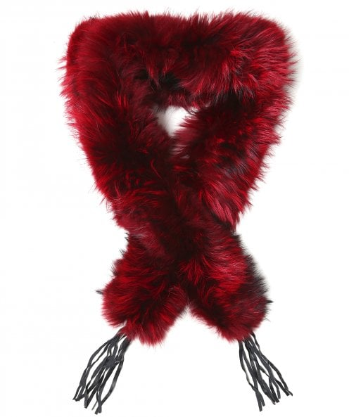 Little Red Leather Tassel Fur Scarf
